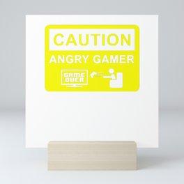 Caution Angry Gamer Mini Art Print