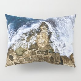 An abstract of the ocean and the coastal rocks. Pillow Sham