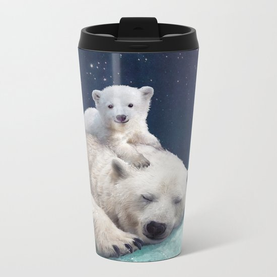 Polar Bears Metal Travel Mug