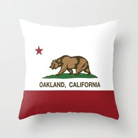 oakland Throw Pillows featuring Oakland California Republic Flag by NorCal