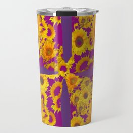 Puce-Purple  Color Golden Sunflowers Pattern Art Travel Mug