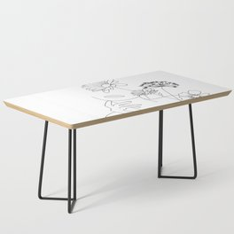 Minimal Line Art Woman with Flowers III Coffee Table