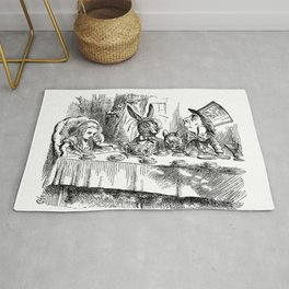 Vintage Alice in Wonderland Mad Hatter & rabbit tea party antique goth emo book gothic drawing print Rug