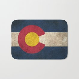 Old and Worn Distressed Vintage Flag of Colorado Bath Mat