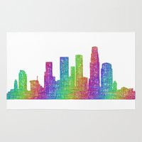 los angeles Area & Throw Rugs featuring Los Angeles by David Zydd