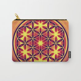 FLOWER OF LIFE batik style yellow red Carry-All Pouch
