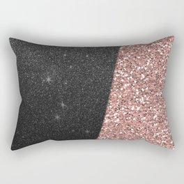 Abstract black rose gold geometrical glitter Rectangular Pillow