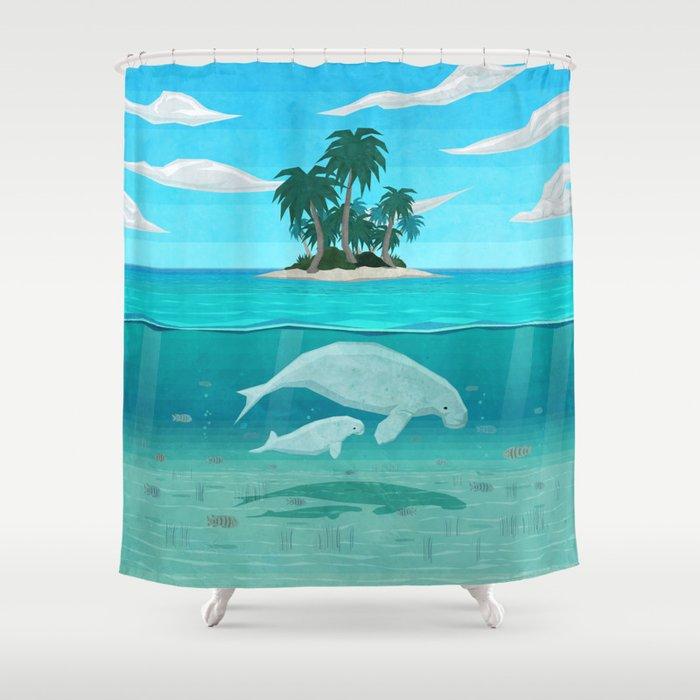 Manatee Island Shower Curtain By Lidra