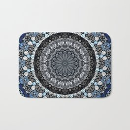 Dark Blue Grey Mandala Design Bath Mat