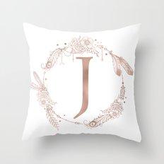 Letter J Rose Gold Pink Initial Monogram Throw Pillow
