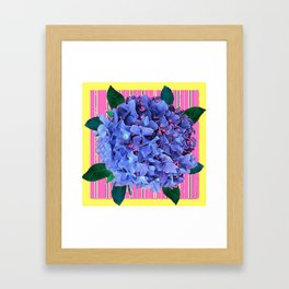 BLUE ABSTRACTED HYDRANGEA YELLOW-PINK Framed Art Print