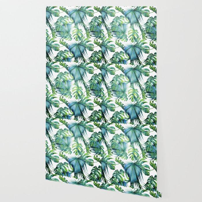 Blue Jungle Leaves Monstera Palm Society6 Wallpaper