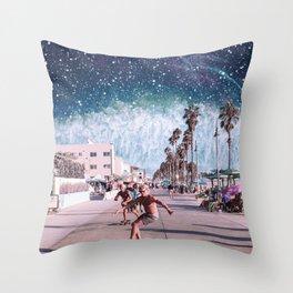 Starry Waves - Space Aesthetic, Retro Futurism, Sci Fi Throw Pillow