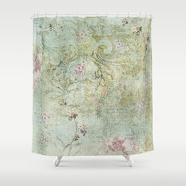 Vintage French Floral Wallpaper Shower Curtain