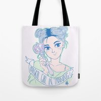 magical girl Tote Bags featuring MAGICAL GIRL IN TRAINING by Natalie Nardozza