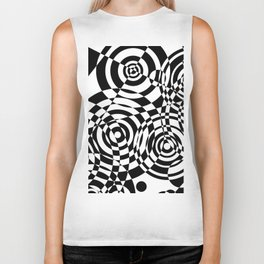 Raindrops 2 Black and White Geometric Painting Biker Tank