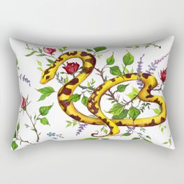 Snake - White and Gold Rectangular Pillow