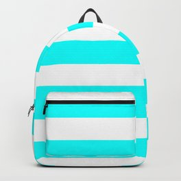 Electric cyan - solid color - white stripes pattern Backpack