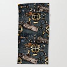Mechanical steampunk grunge print. Beach Towel