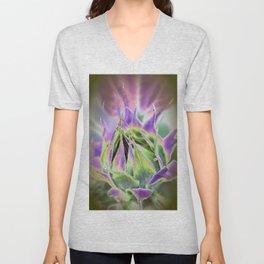 Sunflower Bud Abstract Unisex V-Neck