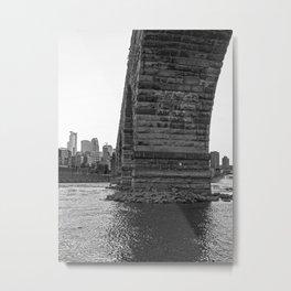 Stone Arch Bridge and Minneapolis Skyline Black and White Metal Print