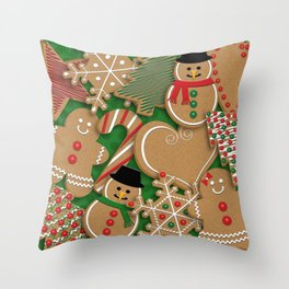 Christmas Holiday Gingerbread Cookies // Gingerbread Boys and Girls, Snowmen, Snowflakes, Xmas Trees and Candy Cane Throw Pillow