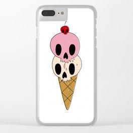 Skull Ice Cream Clear iPhone Case