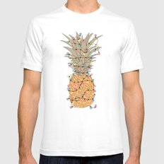 Tropical Lights Mens Fitted Tee SMALL White