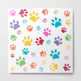 Colorful paw pattern background Metal Print