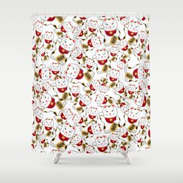 Good luck cat pattern/ red Maneki-neko Shower Curtain