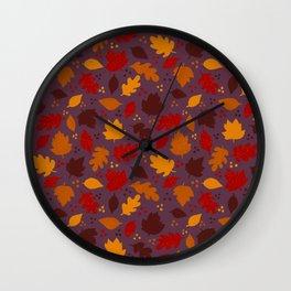 Autumn Leaves on Purple Wall Clock