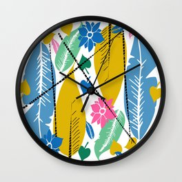Feathers and leafs Wall Clock