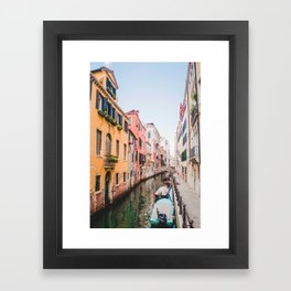 Colorful Pink Yellow Blue Venice Canals | Europe Italy City Travel Photography Framed Art Print