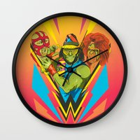 wrestling Wall Clocks featuring Classic Wrestling by RJ Artworks