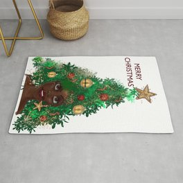 Afro Christmas Tree Design Cards & Gifts Rug
