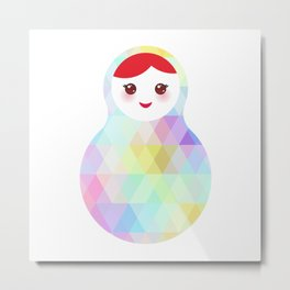 Russian doll matryoshka with bright rhombus on white background, rainbow pastel colors Metal Print