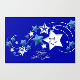Teal and Blue Happy New Year Shooting Stars  Canvas Print