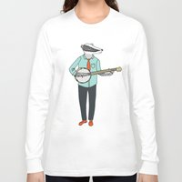 banjo Long Sleeve T-shirts featuring Banjo Badger by Prelude Posters