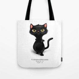 yoga cat warrior 2 Tote Bag