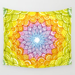 Abstract Round Wreath composition rainbow frame. simple Nature rainbow background with Asian wave Wall Tapestry