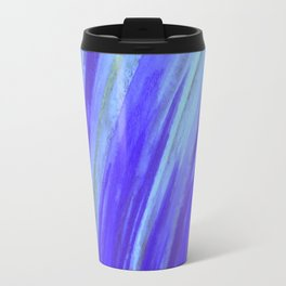WASHED UP - Bold Blue Stripes Abstract Watercolor Painting Colorful Fun Surfer Ocean Waves Travel Mug