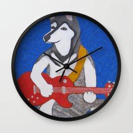 Alaskan Malamute Playing Guitar Wall Clock