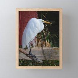 the wind and the egret Framed Mini Art Print