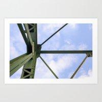 Green Lines-Blue Sky Art Print