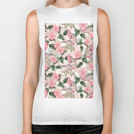 Vintage & Shabby Chic - Pink Tropical Birds And Flowers Biker Tank