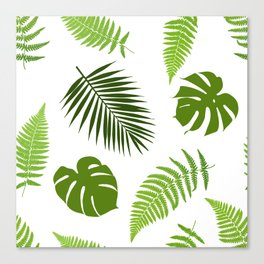Tropical leaves seamless pattern. Canvas Print
