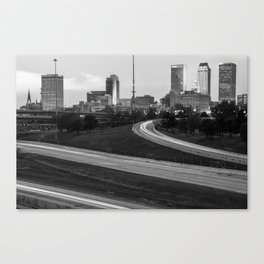 Downtown Tulsa Oklahoma with Passing Traffic Black and White Canvas Print