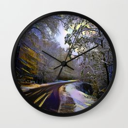 Rural road in winter forest Wall Clock
