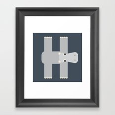 Letter H // Animal Alphabet // Hippo Framed Art Print