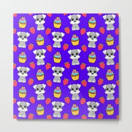 Cute happy funny baby Schnauzer puppy, sweet adorable yummy colorful Kawaii cupcakes and red summer strawberries cartoon midnight blue pattern design Metal Print